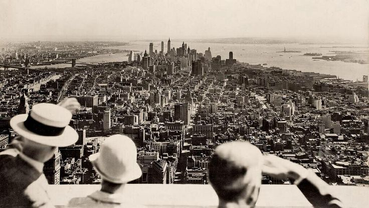 View from the top on the opening day of the Empire State Building, 1931