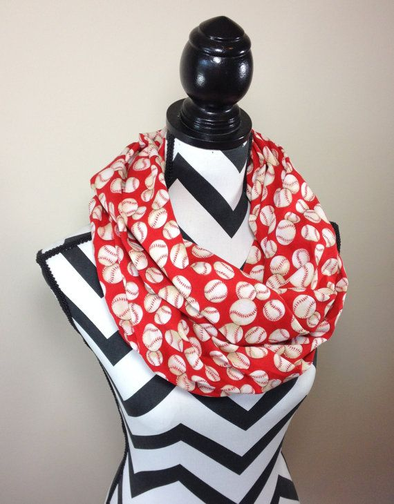 Baseball Scarf Red Baseball Print Infinity Scarf by ITalkofDreams, $20.00
