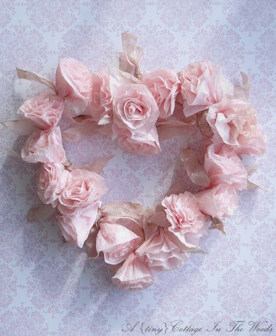 ♕ A {tiny} Cottage In The Woods: sharing my Paper Roses Valentine Wreath Tutorial ~ it really is easy to make!