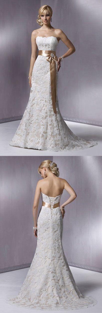 lace mermaid wedding dress,wedding dresses. love this minus the sash...