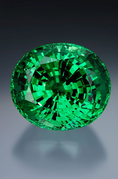 Tsavorite garnet, 325.13 ct. The superior size and color of the 325.13 ct. tsavorite garnet from Merelani was discovered at the Tucson Gem & Mineral show in 2007. Courtesy of Michael Couch & Associates, West Des Moines, Iowa; photo by Robert Weldon © GIA