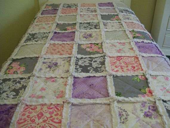 Toddler Rag Quilt Purple Passion Purple Pink Gray by CottageDome