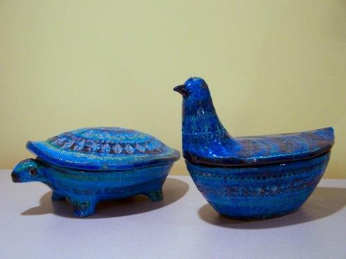 My Bitossi Rimini Blue animal boxes, side by side.  #bitossi  #k2yhe