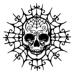 Silhouette Design Store: skull on spider web