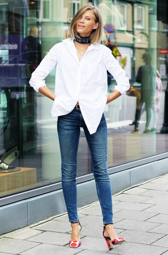 #1: White Button-Down Shirt + Blue Jeans