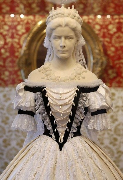 Replica of the gown worn by former Austrian Empress Elisabeth at her Hungarian coronation ceremony. 1867. Sisi Museum. Hofburg palace in Vienna.