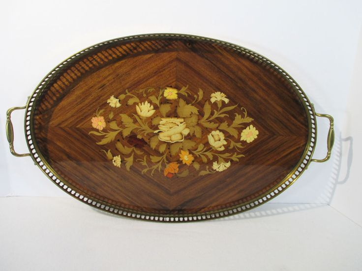 Wood Tray Inlaid Italian Sorrento Brass Handles Oval Marquetry Flower Vanity Bar