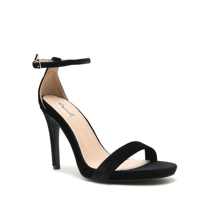 GRAMMY-01 Black Velvet Simple Strap Heel