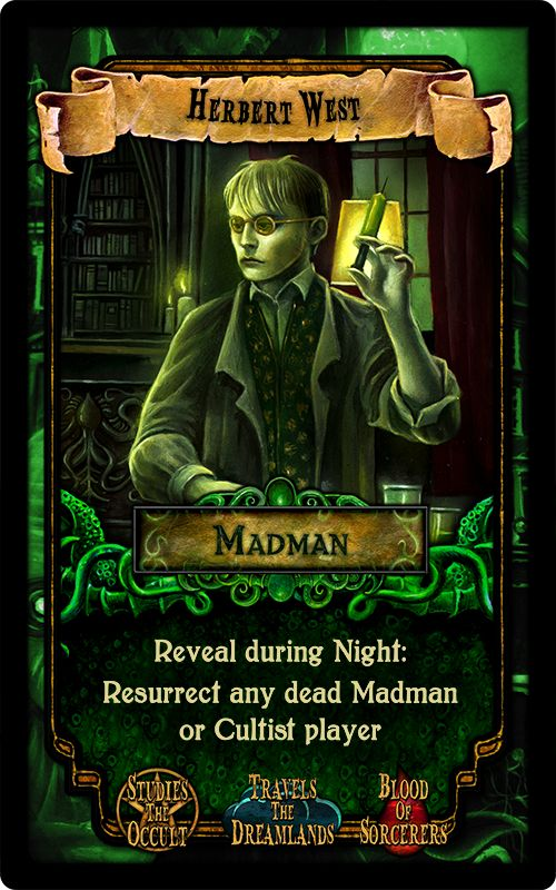 """Herbert West - from the party game """"Arkham Nights"""" by Dann Kriss Games, with art by Ian Daniels © 2015"""