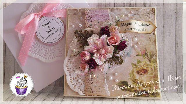Pracownia artystyczna IKart: Kartka ślubna z kompozycją kwiatową