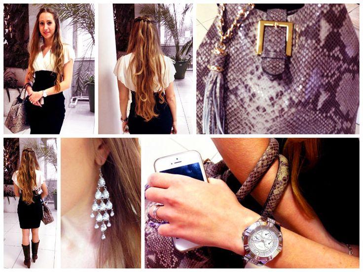 Часы: Guess Платье: Valerie Bertinelli Сапоги: Эконика Riarosa Сумка: POP Corn Серьги: H&M