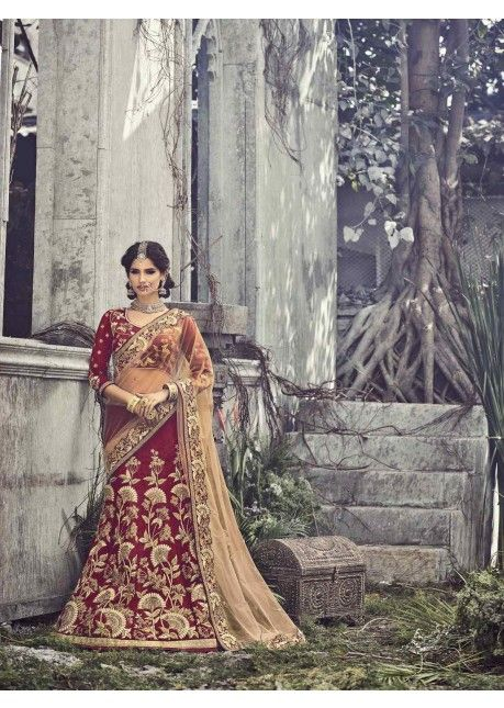 Mesmerizing Maroon Colored Embroidered Net Silk #Lehenga Saree 201 #индия #свадебное #лехенга #костюм #платье