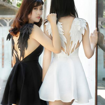 Fashion sexy backless lace angel wings dress