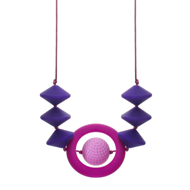 Pretty in pink and purple.  Visual and tactile, two ingrediants for the perfect teething and breastfeeding necklace. Add to that, striking colours, soft texture and a bundle of style... introducing the Infinity collection!   The UFO and bumpy beads are 28mm diameter.  The infinity ring has a 60mm outside diameter.  30cm drop with a custom, breakaway, safety clasp.  BPA, lead, latex, phthalate free silicone jewellery.