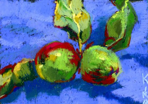 Two apples. Pastel on sandpaper. Something like 3x5″ available for purchase