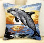 Dolphin Sunset Cushion Front