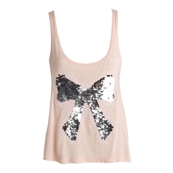 Sequin Bow Tank ❤ liked on Polyvore