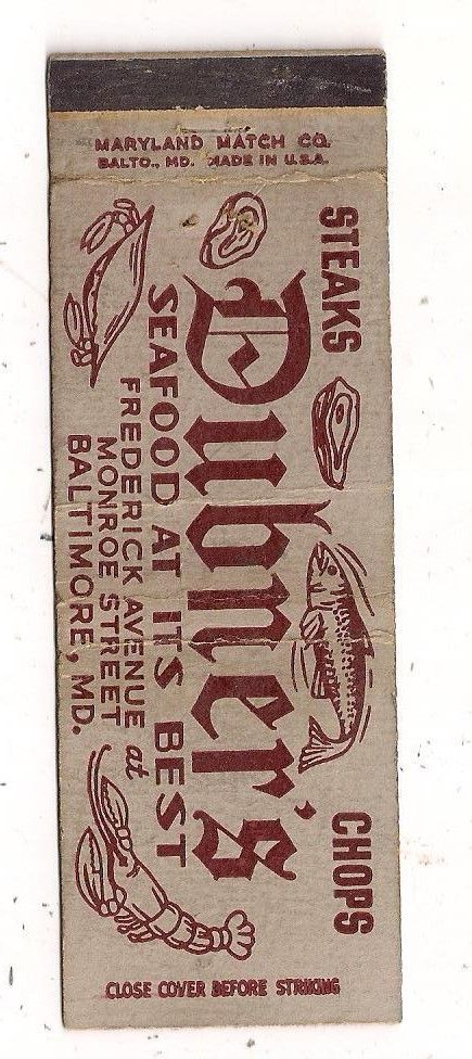 1786. DUBER'S SEA FOOD RESTAURANT, BALTIMORE MD Seafood