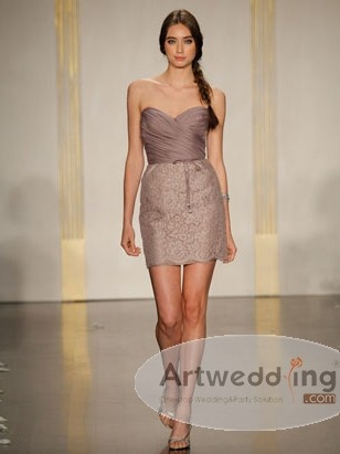 Sweetheart Ruched Organza Lace Sheath Bridesmaid Dress
