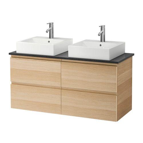 409 euro GODMORGON/ALDERN / TÖRNVIKEN Mobile/lavabo 45x45/piano di lavoro - effetto rovere con mordente bianco, nero effetto pietra - IKEA