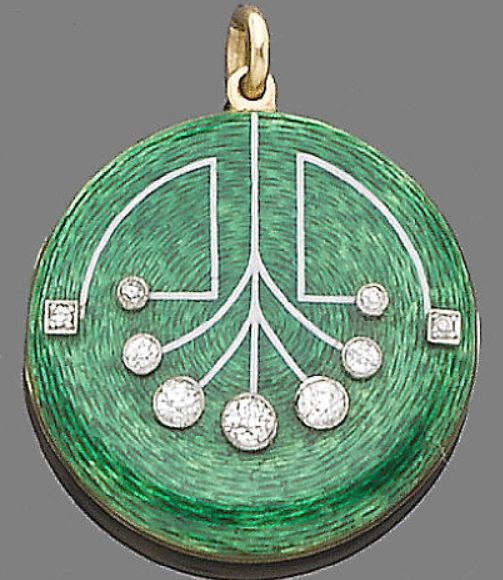 "An enamel and diamond locket/pendant, circa 1910. The circular plaque decorated with green guilloché enamel, highlighted with old brilliant and single-cut diamonds, inscribed to the reverse ""My husband Xmas 1911."" Diamonds approx. 0.55ct. total, length 4.0cm."