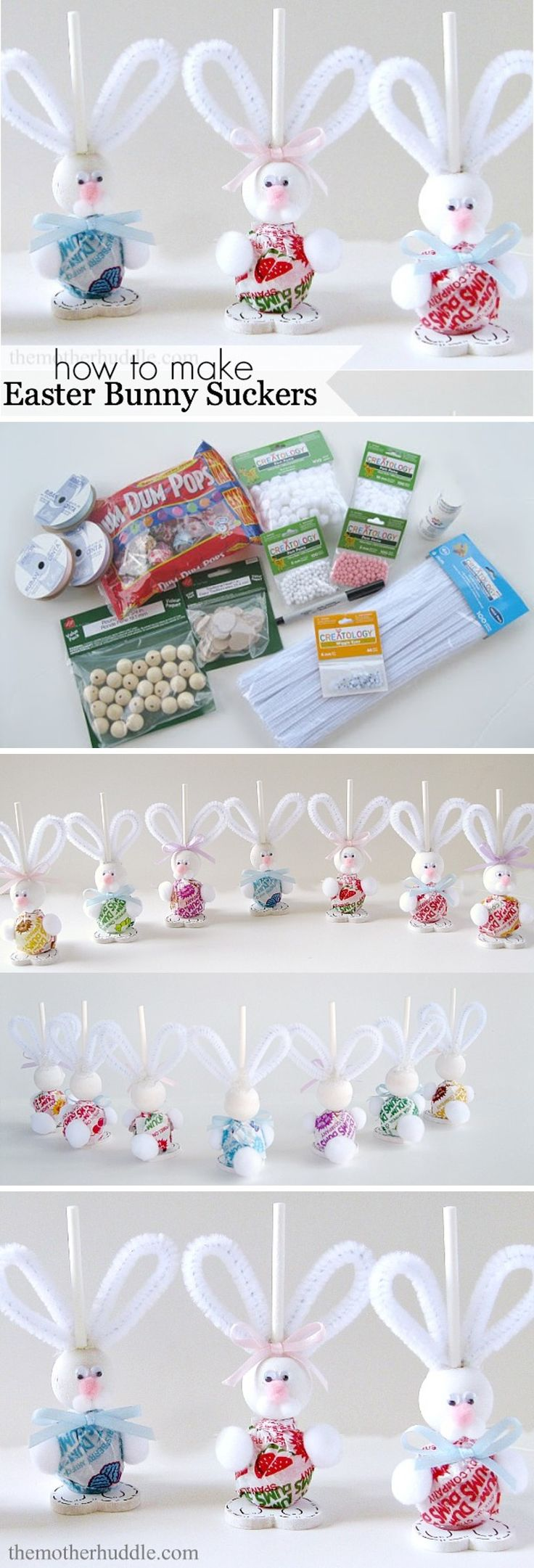 DIY Easter Bunny Suckers [Tutorial] : Dums Suckers for the body + wooden ball for head + wooden heart for feet + googly eyes + pom pom for nose, paws, and tail + pipe cleaners for ears + blue or pink ribbon... what a fun kid project for Easter!