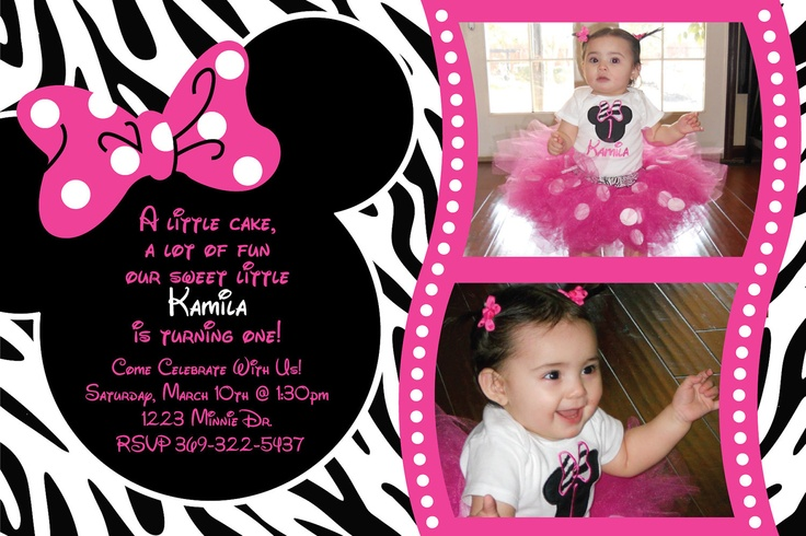 Minnie Mouse Zebra Birthday Party Custom by HeathersPaperPackers