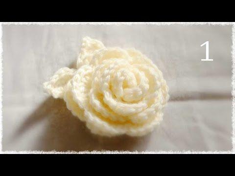 かぎ編み・バラの編み方(1)diy crochet rose tutorial - YouTube