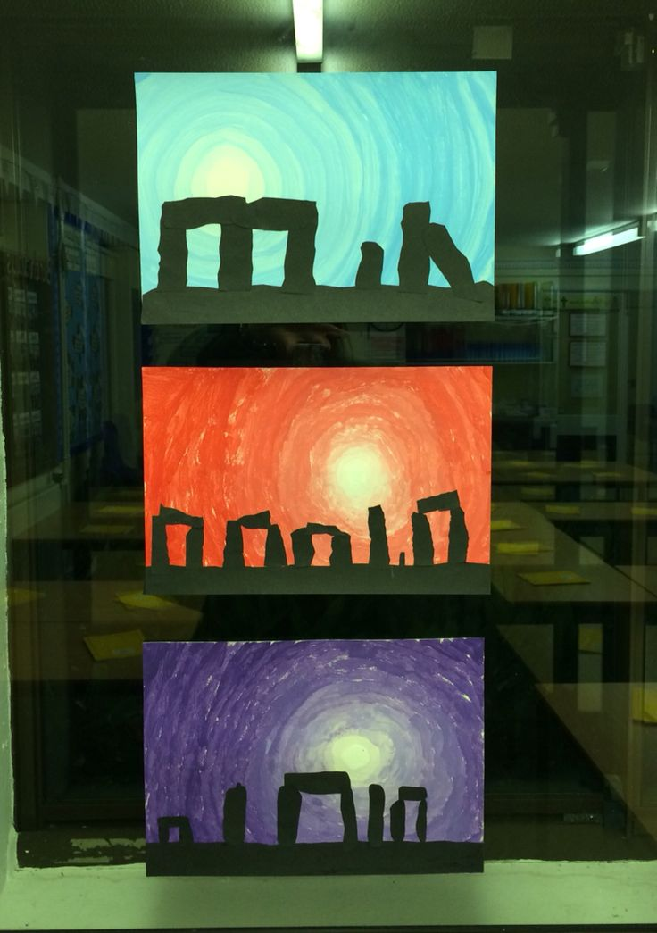 Stonehenge paintings - Year 3 Following a trip to Stonehenge (linking to our Stone Age topic) the children created these amazing paintings. We practiced colour blending for the background, then cut out 'stones' from black sugar paper for the foreground.