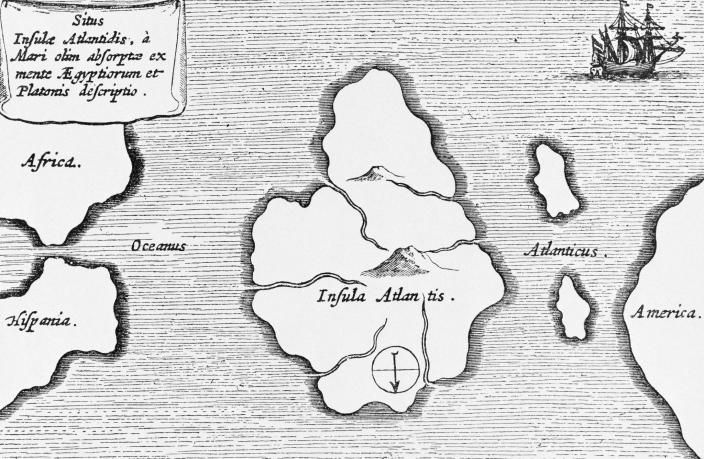 Picture of a map of Atlantis by Kircher