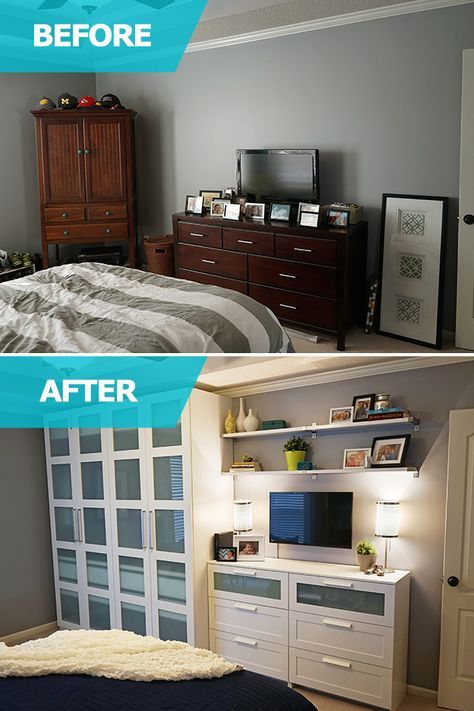Matt and Adri lacked storage space in their bedroom! Matt desperately needed a large space to store his clothing, shoes and hats – so the IKEA Home Tour Squad customized a PAX wardrobe to help him store everything! Additional BRIMNES dressers added extra storage to their bedroom.