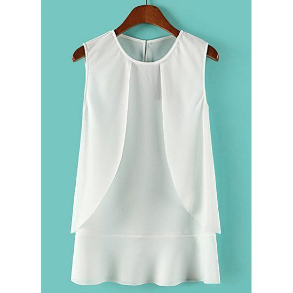 Casual Style Round Collar Solid Color Chiffon Sleeveless