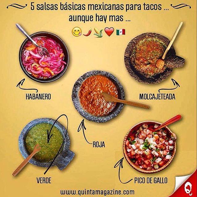 5️⃣ Salsas básicas mexicanas para tacos 🌮 ... Aunque hay más ... #infografía 5️⃣ Basic mexican sauces for tacos 🌮... although there are more ... #infographic 😋🌶🍋🍴🍅🇲🇽 #salsas #sauces #salsamexicana #mexicansauce #taco #tacos #chile #chiles #chili #picante #hot #culturagastronomica #cocinamexicana #cocinamexicanacontemporanea #foodie #original #originaldemexico #gastronomia #vegetarianfood #vegan #vegetariano #vegetarian #vivamexico #mexico