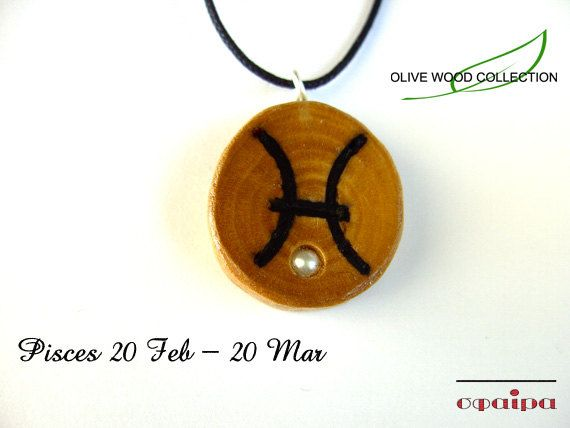 Olive Wood Zodiac sign necklace Zodiac Wood by SfairaKosmima