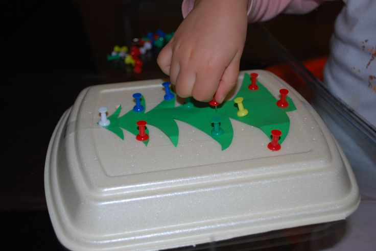 Christmas tree decorating - fine motor skills activity with push pins