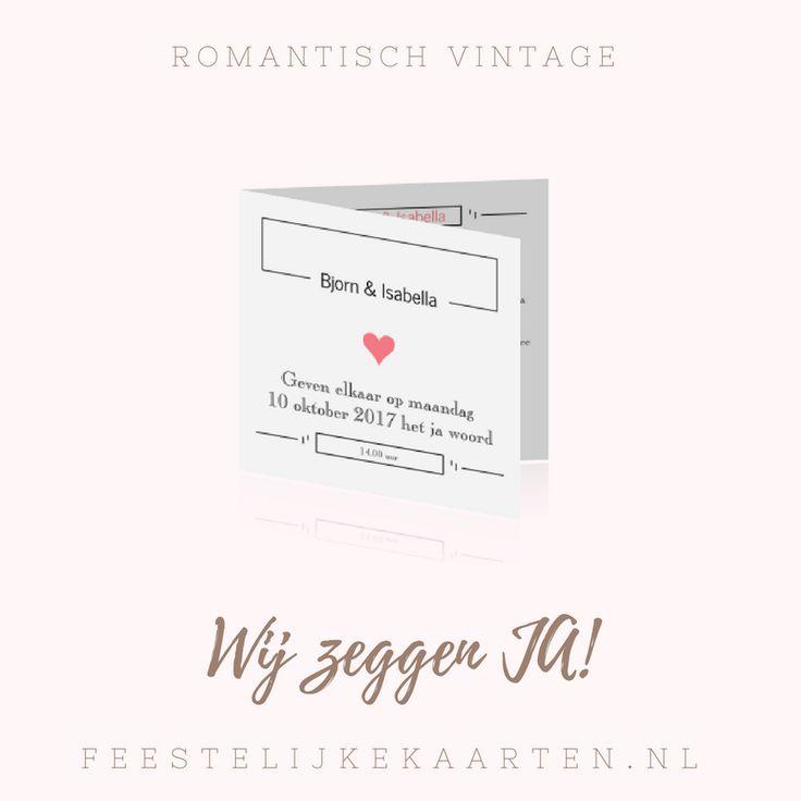 Vintage, het nieuwe romantisch. Maak deze retro trouwkaart in oud roze met hartjes. Voeg zelf eigen tekst toe of een foto.