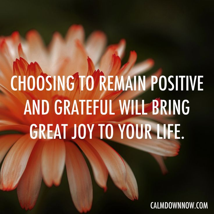 Choosing to remain positive and grateful will bring great joy to your life.