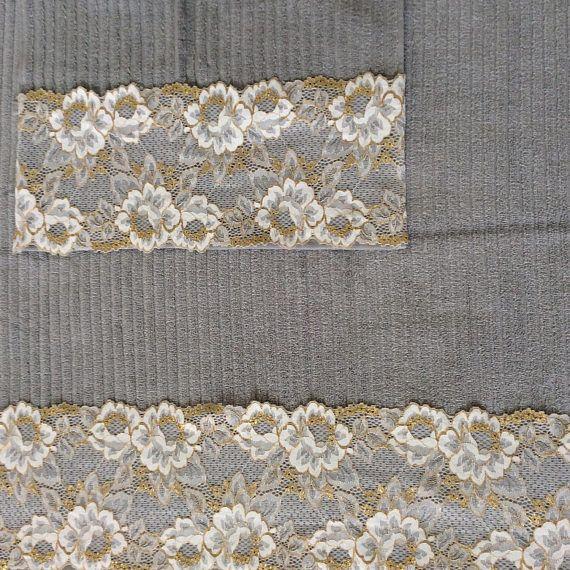 Gray Decorative Towel set Silver Towels Set of 2 House