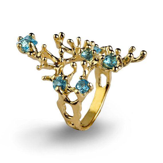 REEF Gold Blue Topaz Ring Gemstone Ring Gold by AroshaTaglia