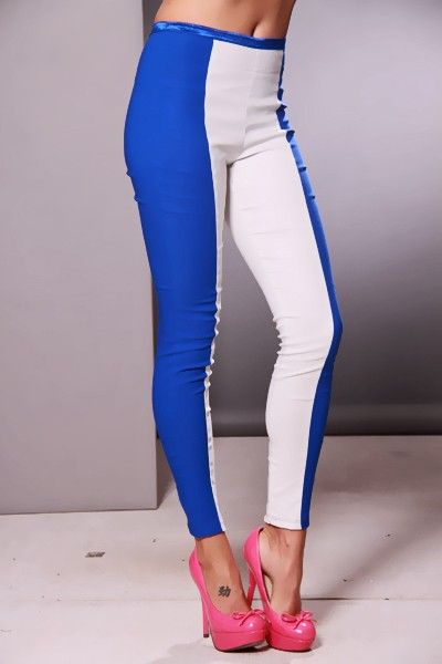 Stylish pants with colorblock patterns, a stretchy fit, a ribbon waist and skinny legs. 72% Rayon/22% Nylon/5% Spandex