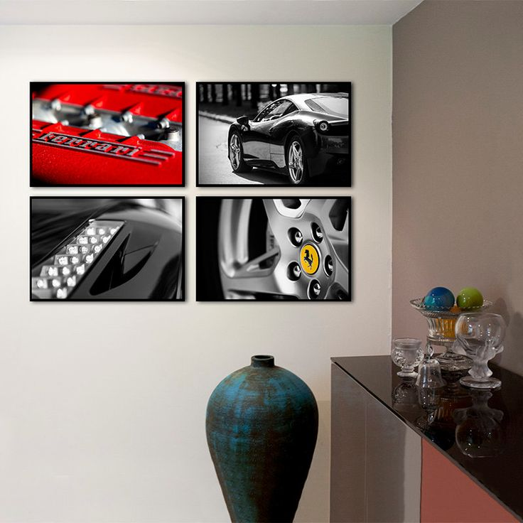 Set of 4 print/Ferrari car photography/large art home decor/gallery wall set/nursery art/car decor/boys room decor/car print/Ferrari poster by PHOTOFORWALL on Etsy