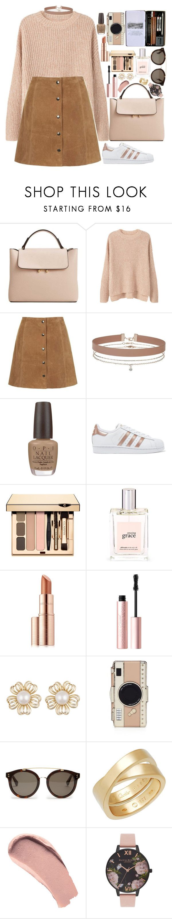 """""""❤"""" by polinachaban ❤ liked on Polyvore featuring MANGO, Topshop, Miss Selfridge, OPI, adidas Originals, philosophy, Estée Lauder, Too Faced Cosmetics, Kate Spade and STELLA McCARTNEY"""