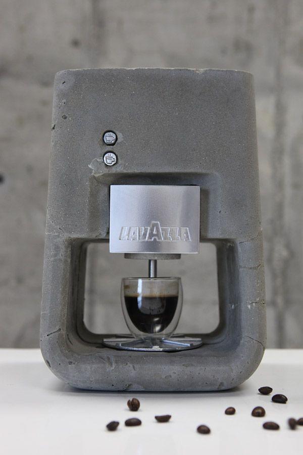 """""""Espresso Solo"""" – an espresso coffee machine made of concrete and metal parts   designed by Shmuel Linski   linski design   Photo -Sasha Flit"""