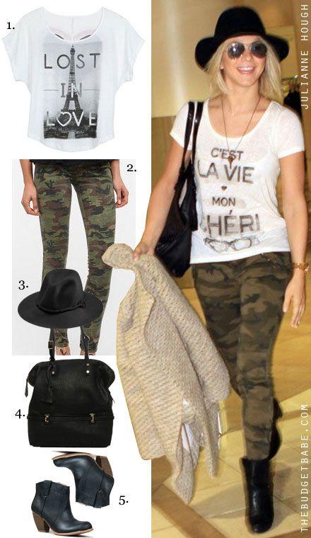 Julianne Hough's C'est La Vie Tee and Camo Jeans