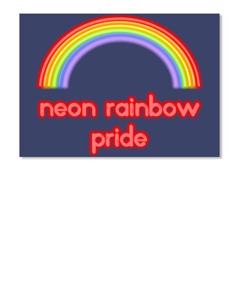 Lgbt Neon Rainbow Pride Dk Navy T-Shirt Front