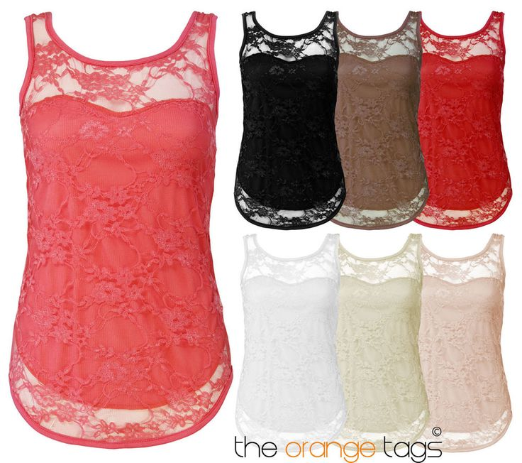 WOMENS SLEEVELESS #STRETCH #BODYCON #LACE #TOP #LADIES #VEST #TOP #T-SHIRT