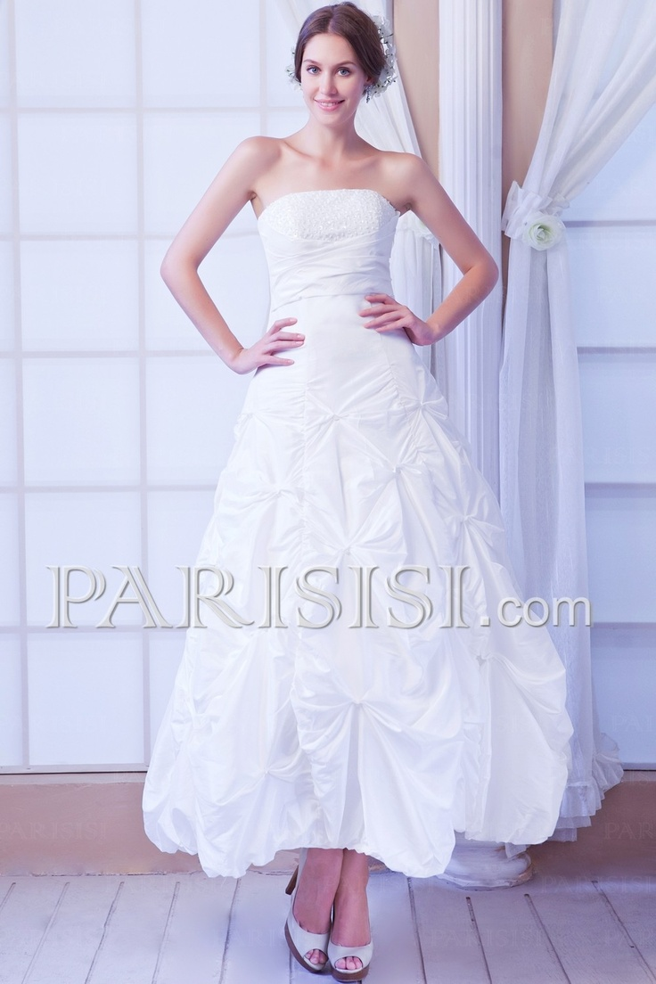 Wedding Dress Sleeveless Floor-length A-line Strapless Lace-up Taffeta Ivory Classic Sequins price USD $149 - PARISISI ONLINE DISCOUNT SHOP