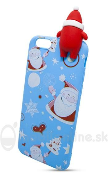 Puzdro 3D TPU iPhone 6/6s Santa - modré