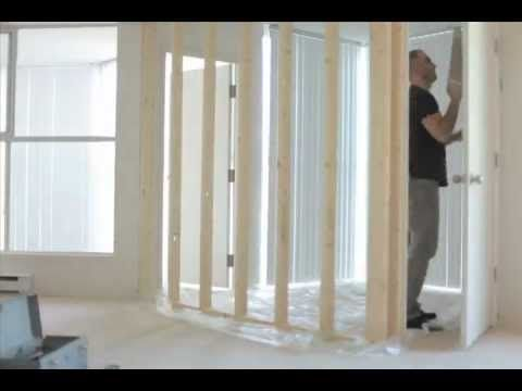 How to Turn a 1 Bedroom Apartment Into a 2 Bedroom Apartment - Do It Yourself    Notes -  structure is temporary. not nailed, screwed or bolted to existing structure. wedged in using vertical pressure from strategic lengths of lumber. foam and plastic were attached to the 2 x 4s that touched the walls, ceiling and floor.