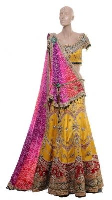 Traditional Yellow Embroidered Lehenga   by Raakesh Agarvwal